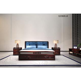 82牡丹系列-床 材质 非洲紫檀 规格 2170x2990  5.1万3件
