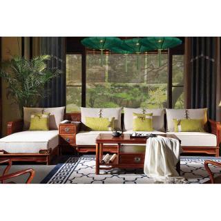 2流云系列 吉祥转角沙发 3件套 材质:刺猬紫檀 规格:3000x1100