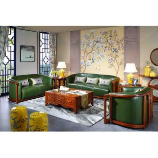 荷花系列 C202绿皮沙发 6件套 材质:金车花梨 规格:2349x876x796