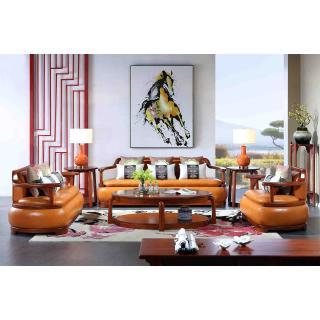荷花系列 C201棕皮沙发 五件套 材质:金车花梨 规格:2181x805