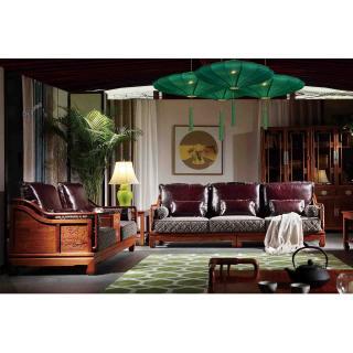 荷花系列 荷花沙发 八件套 材质:刺猬紫檀 规格:4350x3600